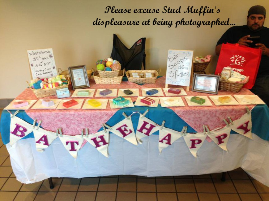 This was our table at Girls' Day Out. Don't worry the yarn balls were relocated due to lack of space.